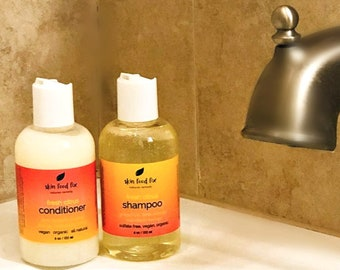 Shampoo sulfate free natural organic safe Conditioner Silky Hair Soft, Multi Taskers all in one body wash and use for shaving VEGAN