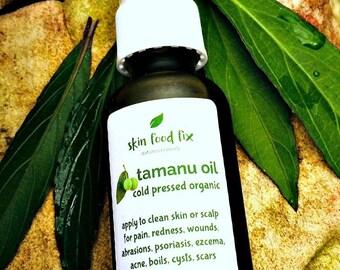 Treatment Oil Acne Oily Pores Clear tamanu oil cold pressed virgin organic, Organic Vegan pump bottle 1 ounce