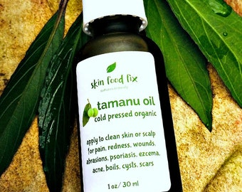 Tamanu oil cold pressed  virgin organic,  Skin wounds infection Organic Vegan pump bottle 1 ounce