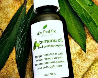Tamanu oil acne scars, virgin organic  Skin wounds infection Organic Vegan pump bottle 1 ounce Pain on skin or joint pain