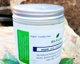 MSM Cream Acne Rosacea Psoriasis Eczema, Skin Opti-msm acne scars wrinkles collagen production 2 ounce and 4 ounce jar Methylsulfonylmethane
