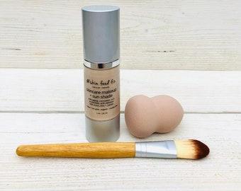 Foundation SPF Mineral makeup Liquid - Vegan Makeup skin care healthy, MSM DMAE Anti aging make up
