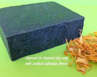 Charcoal Soap Rhassoul Clay, Hemp Seed Soap Acne, Soap Organic VEGAN Non Gmo, oily wash calendula soap exfoliate black detox deep pore