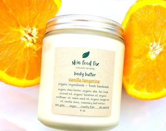 Body Butter Moisturizer Vanilla Tangerine Pure Organic, No preservatives, Indie Beauty Non GMO Cruelty Free, No Hassle RETURNS