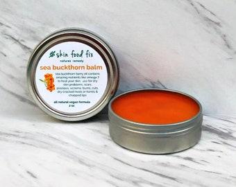 Sea buckthorn eczema psoriasis balm salve eczema VEGAN, skin burns scar omega 7 oil balm cream, cold pressed oil sea buckthorn
