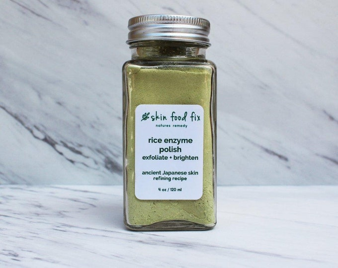 Featured listing image: Rice Powder Enzyme Scrub, Japanese Skin Care papya papain, skin scrub rice bran, skin Korean skin care beauty secret matcha 4 ounce bottle