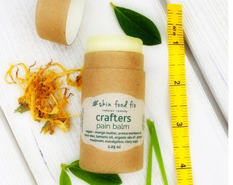 Crafters Hand Wrist Pain Balm, VEGAN Balm, Zero Waste Packaging, Eco Brown Tube, Salve Farmers daughter Clove Arnica