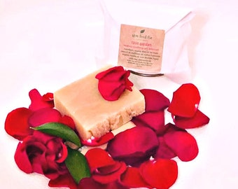 Rose Garden Soap All Natural No Perfumes, real rose soap, vegan soap natural, soap smells like roses VEGAN