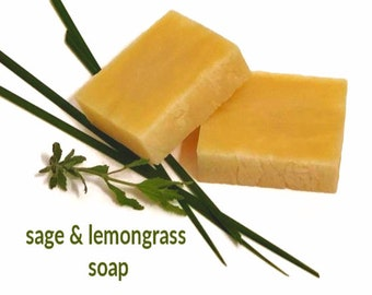 Lemongrass Sage soap all natural, vegan organic soaps sage, all natural vegan soap non gmo, lemon grass and sage negative energy removal