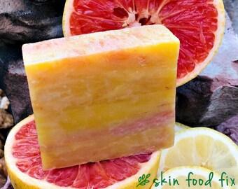 Pink Grapefruit Soap vegan organic soaps, all natural vegan soap non gmo tangerine lime grapefruit