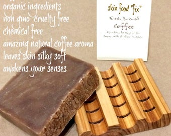 Coffee soap goats milk , dry sensitive skin soap bath natural organic, Organic Fair Trade Cruelty Free gift coffee