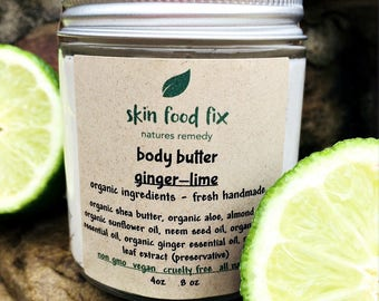 LIME & GINGER Body Butter | Organic Body Cream | Skin Brightening Refreshing Chemical Free |Recycled glass package| Mood boosting body cream