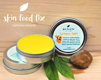 Sandalwood Turmeric Skin Balm Rosacea Vegan Red Dry Psoriasis Eczema MORINGA OIL Makes Skin Glow health moisture, Sun Damage easy to OPEN