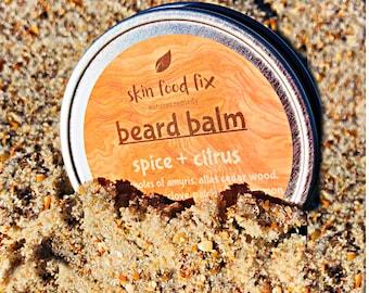VEGAN BEARD BALM Mustache Help smooth grow smells good citrus fresh sexy spice patchouli cinnamon amyris cedar wood