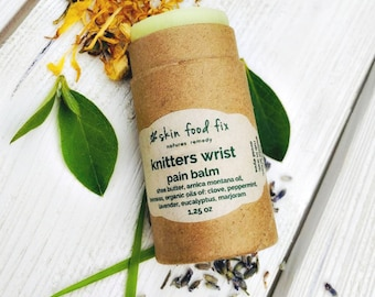 Knitters Wrist Pain Balm, Zero Waste Packaging, Eco Brown Tube, Salve Farmers daughter Clove Arnica