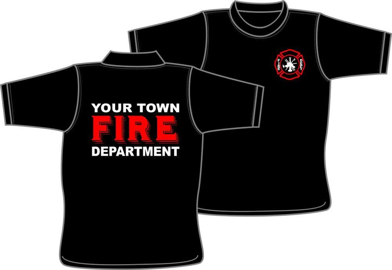 Your Town Fire Department T Shirt Customized For Your Etsy