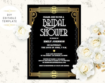 bridal shower invitation template diy great gatsby bridal shower invite roaring 20s invitation printable invitation editable template pdf