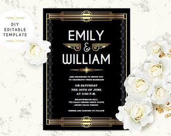Great Gatsby Birthday Invitation Template Art Deco Invitation Etsy
