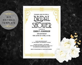 Gatsby bridal shower etsy quick view bridal shower invitation template diy great gatsby filmwisefo