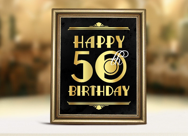 Birthday Decorations Printable Poster Happy 50th