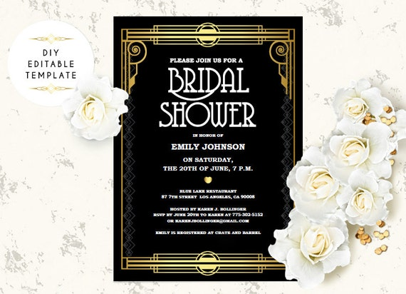 Bridal Shower Invitation Template Diy Great Gatsby Bridal Etsy