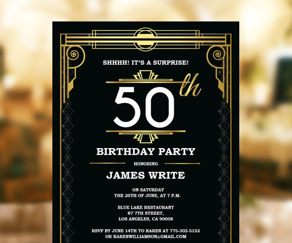 Great Gatsby Birthday Invitation Template Art Deco Invitation Etsy