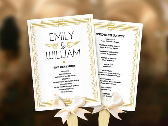 wedding fans great gatsby program template diy roaring etsy