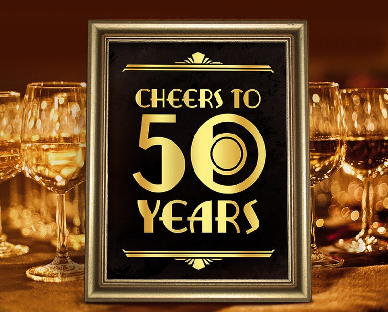 Birthday Party Decorations Cheers To 50 Years Printable Sign