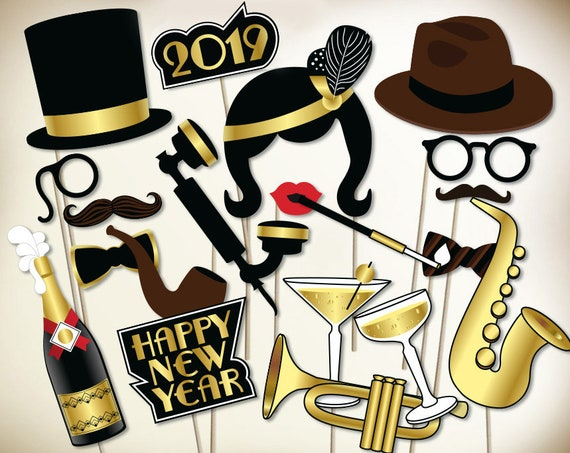 New Years Eve Photo Booth Props Printable Pdf Great Gatsby Etsy