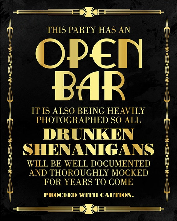 Open bar sign printable. Bar decorations. Great Gatsby ...