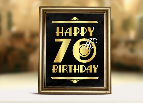 Birthday Decorations Happy 70th Printable Sign