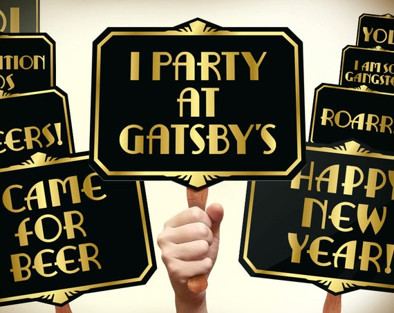 Great Gatsby Photo Booth Props Printable Pdf Gatsby Props Etsy