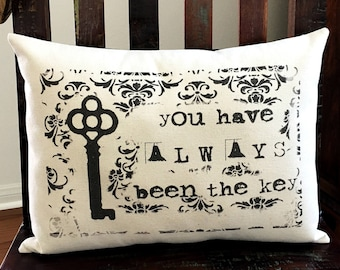 Love Key pillow cover 12x16 cotton canvas cottage chic cushion #524 FlossieandRay