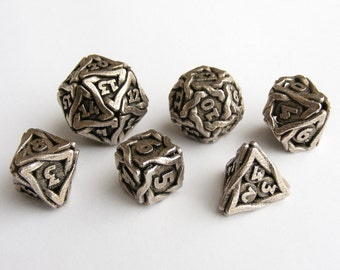 Steel DnD Set - 'Twined' Balaced Metal Gaming Dice