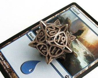 D20 Spindown Life Counter Die for MTG, Stainless Steel - 'Center Arc' Metal Balanced Dice