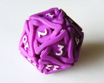 Large Balanced Spindown Life Counter D20 Die for MTG - 'Twined Dice' Nylon