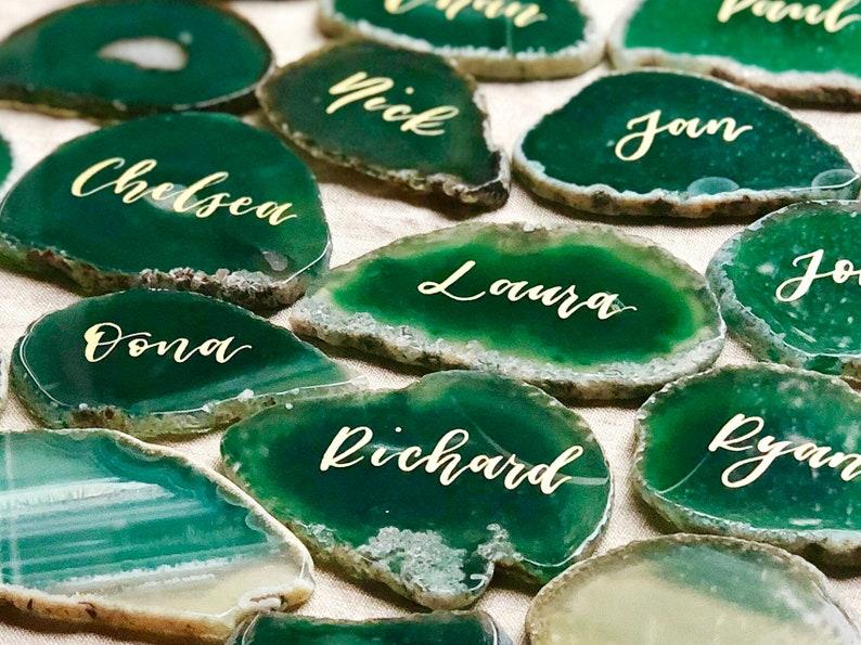 Namensschilder Achatscheiben Hochzeit Smaragdgrün