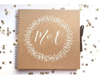 Large kraft scrapbook, guest book, baby book, personalised, typography, gift