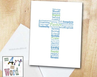 Pastor Appreciation Card Typography Christian Ministry Minister Inspirational Encouragement Grateful Thankful Cross
