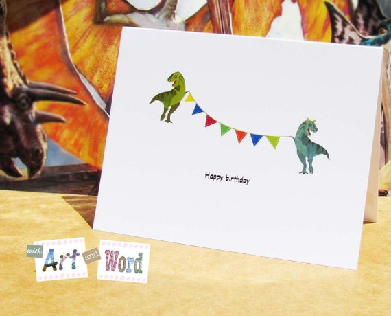 T Rex Birthday Card Dinosaur Blank Fun