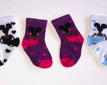 Mahogany Baby Socks- 3 Pack
