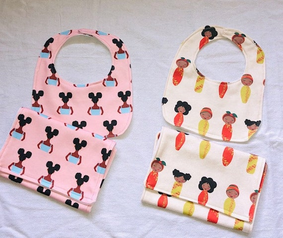 Mahogany Bib and Burp Cloth Sets