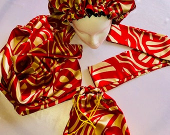 The Satin Hair Protection Set - Multi Colored Prints