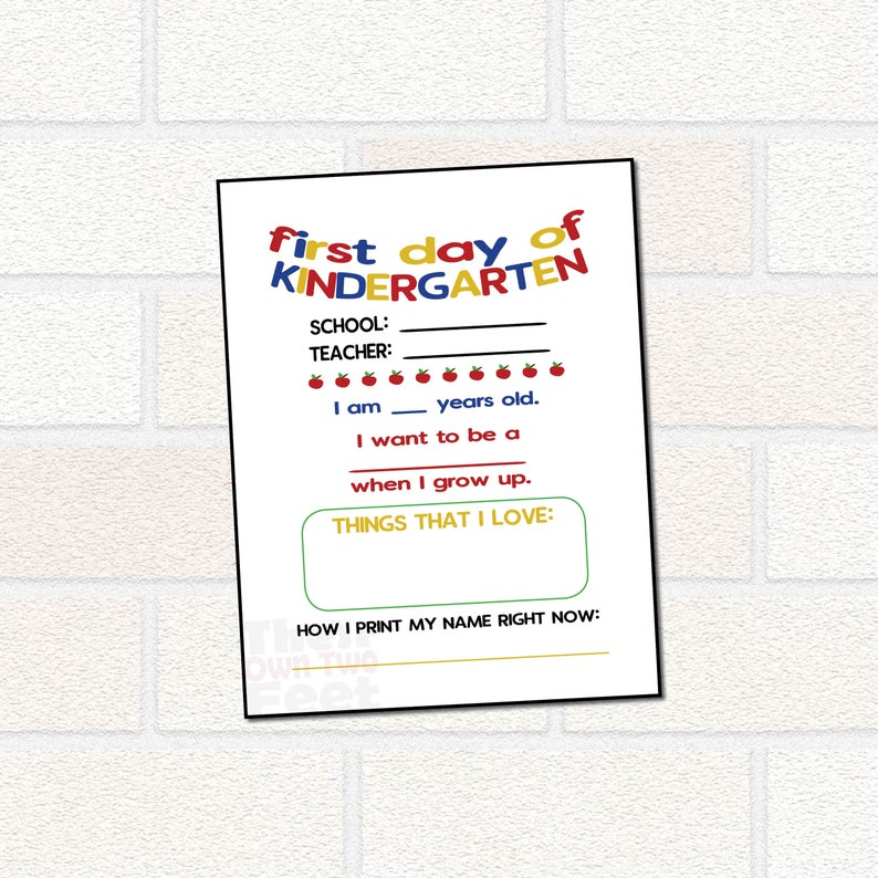 image regarding First Day of School Interview Printable referred to as To start with working day of University Printable Signal - University Job interview - Fill inside the Blank for Kindergarten - 1st Working day of Kindergarten Signal