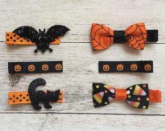 Halloween Baby/Toddler Hair Clips, Baby Hair Clips for Halloween, Halloween Baby Bow, Toddler Hair Clips, Baby Barrettes, No-Slip Clip