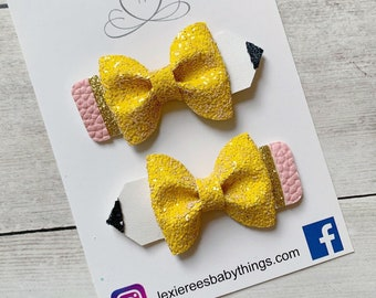 School Bows Back to school bows Crayon bow Pencil Bow Apple Bow Chalkboard bow Back to School outfit Girls bows School outfit Schoo