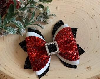 Red glitter bow headband Hair bows Red bow hair clip Baby girl headband Christmas hair bows Glitter bow hair clip Newborn bow headband