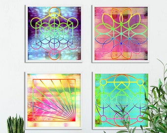 Pastel map of the world gold foil impressionist painting set of 4 glitch sacred geometry printablesrainbow decormediation artzen printableszen decorsacred geometry wall artbright art colorful gumiabroncs Gallery
