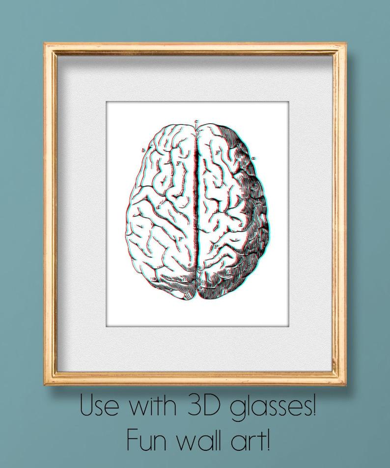 3D Stereoscopic Brain, 3D Brain Art, Anaglyph Printable, Anaglyph Brain,  Stereoscope Brain, 3D Art, Retro, Anatomical Brain, Neurology Art