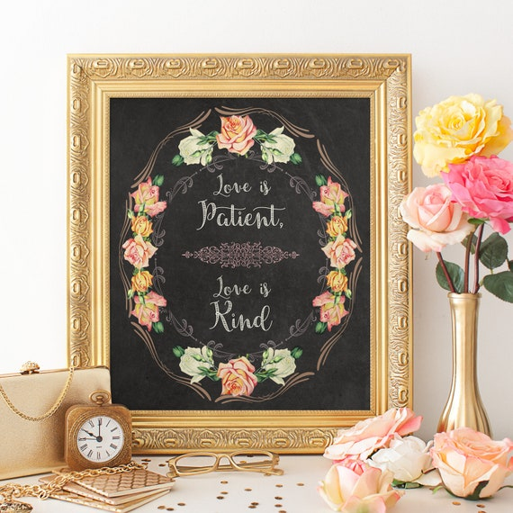 Perfect Wedding or Corinthians 13;4-8 Love is Patient Quote Chalkboard Sign